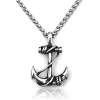 Personality Navy Boat Anchor Titanium Steel Men S Pendant Necklace
