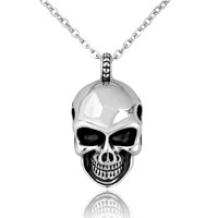 Simple Vogue Skull Titanium Steel Men S Pendant Necklace