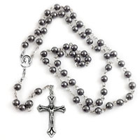 Stainless Steel Necklace Cross Mens Womens Pendant 20 Inches Round Beaded Chain