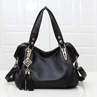 Women S Black New Hobo Satchel Messenger Bag Pu Purse Shoulder Tassels Handbag