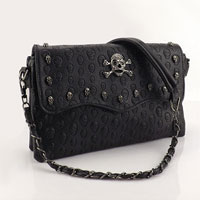 New Fashion Handbag Hobo Shoulder Bag Tote Purse Pu Leather Punk Skull Chain Bag