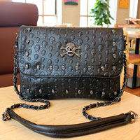 New Women Hobo Handbag Shoulder Bag Tote Purse Pu Leather Punk Skull Chain Bag