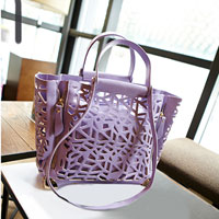 Womens Ladies Leather Candy Color Lavender Light Pink Hollow Shoulder Hand Bag