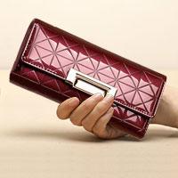 Red Italy Crocodile Pattern Long Pu Women Clutch Wallet Handbags Ladies Purse