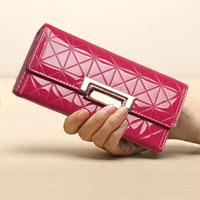 Purple Italy Crocodile Pattern Long Pu Women Clutch Wallet Handbags Ladies Purse