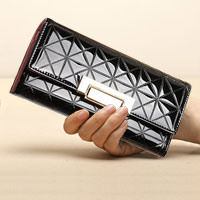 Black Italy Crocodile Pattern Long Pu Women Clutch Wallet Handbags Ladies Purse