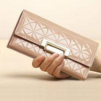 Brown Italy Crocodile Pattern Long Pu Women Clutch Wallet Handbags Ladies Purse