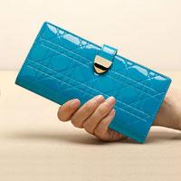 Blue Italy Crocodile Pattern Simple Long Pu Women Clutch Wallet Handbags Ladies Purse