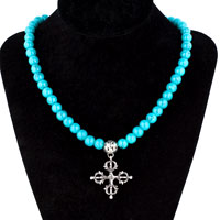 Turquoise Beaded Chian Link Necklace Pendant Dangle Cross