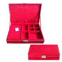 Red Jewelry Storage Box Organizer Display Storage Earring Cufflink Case