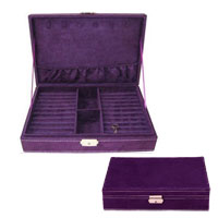 Purple Jewelry Storage Box Organizer Display Storage Earring Cufflink Case
