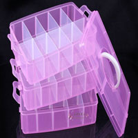 Adjustable Three Layer 10 Grides Components Earrings Jewelry Organizer Storage Box Holder Clear Pink