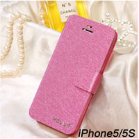 Pu Magnetic Leather Flip Pouch Wallet Stand Case Cover For Iphone 5 5 S Pink