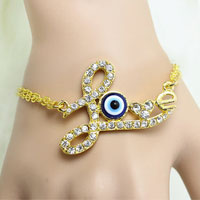 Clear Crystal Heart Love Vintage Iced Out Evil Eye Charm Link Chian Bracelet