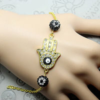 Vintage Iced Out Evil Eye Charm Link Chian Bracelet