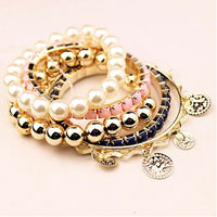 Fashion Wedding Pearl Beaded Gold P Multilayer Pink Bracelet Bangle Bohemia