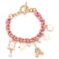 Eiffel Tower Pink Gold P Leather Rope Crystal Bracelet Chain Charms Bangle