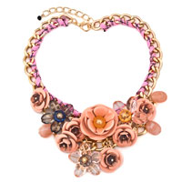 Chain Crystal Pink Flower Bib Chunky Bubble Statement Necklaces Collar