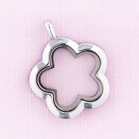 Flower With Pure Face Silver Tone Memory Locket Fit Floating Charms