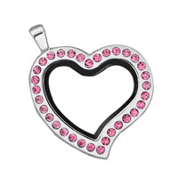 Heart Shaped With Pink Crystal Silver Tone Memory Locket Fit Floating Charms