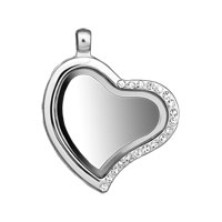 Living Memory Floating Charm Heart Locket Crystal Pendent Fit Floating Charms