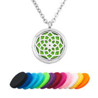 Flower Round Shape Perfume Essential Oil Floating Locket Fit Chains Charms Necklace