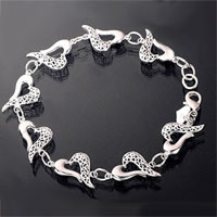 Fashion New Sterling Silver Heart Carved Chained Love Charms Bracelet Bangle