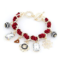 Red Leather Wrap Cuban Chunk Link Chain Dangle Wheel Charm Bracelet