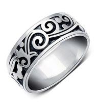 New Stylish 925 Sterling Silver Vintage Carved Mens Wide Biker Ring Size 11
