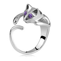 Fashion Lovely Lady Silver Purple Crystal Cat Knuckle Ring Opening Adjustable