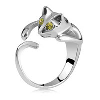 Fashion Lovely Lady Silveryellow Crystal Cat Knuckle Ring Opening Adjustable