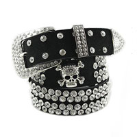New Fashion Ladies Rhinestone Skull Wide Waist Belt Cowhide Black Punk Goth Rock