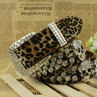 New Fashion Girls Skull Pu Leopard Rhinestone Bling Wide Waist Belt Cool Punk Rock