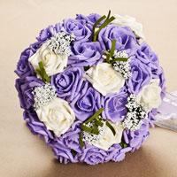 Handmade Pe Purple Flower Silk Ribbon Bridal Wedding Floral Bouquet