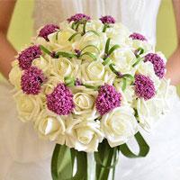 Handmade Pe White Rose Flower Silk Ribbon Bridal Wedding Floral Bouquet