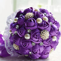 Purple Silk Ribbon Rose Lace Wedding Bouquet Pearl White Crystal Pin Brooch