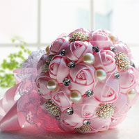 Pink Silk Ribbon Rose Lace Wedding Bouquet Pearl White Crystal Pin Brooch