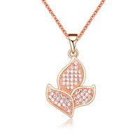 Rose Gold Flower With Clear Crystal Cz Pendant Necklace