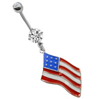 Fashion American Usa Flag Acrylic Button Surgical Steel Belly Navel Rings