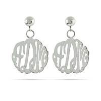 Personalized Framed Monogram Earrings Sterling Silver Handmade Initial Earring Xmas