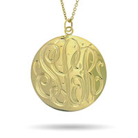 Engraved Round Monogram Necklace Pendant In 925 Sterling Silver 18 K Gold Plating Sterling Silver Pendant
