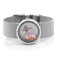 Silver P Floating Living Memory Locket Charms Birthstone Bracelet Unisex Charm Bracelet