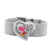 Heart Wide Living Memory Locket Bracelet Love My Dogs Heart Crystal Floating Charms