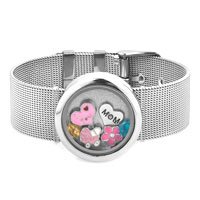 Adjustable Round Shape Wide Living Locket Bracelet I Love You Mom Crystal Charms