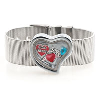 Love Heart Angel Wing Blue Birthstone Floating Charms Living Locket Bracelet