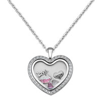 Love Heart Crystal Sister Birthstone Charms Living Locket Chain Necklace