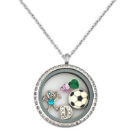 New Football Crystal Boy Floating Charms Living Locket Chains Necklace