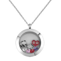 Animal Panda Heart Star Birthstones Silver Living Locket Chains Necklace