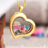 Golden Heart Living Locket Flower Vintage Bike Charms Chain Necklace