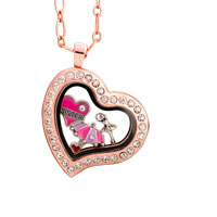 Crystal Heart Floating Rose Golden Living Locket Charms Chain Neckalce